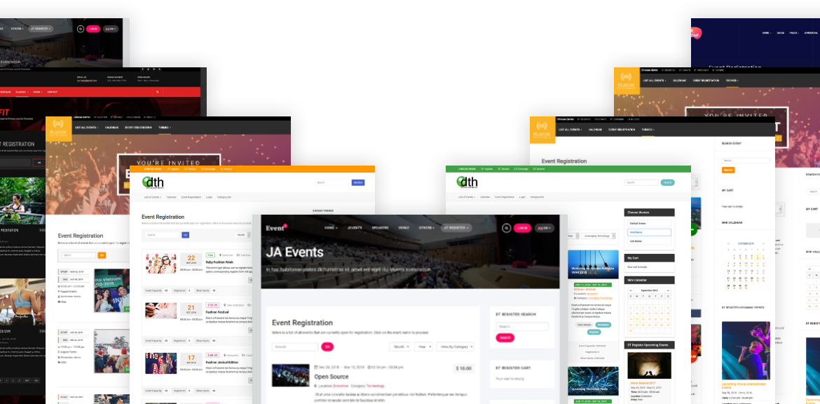 Joomla events registration themes and templates